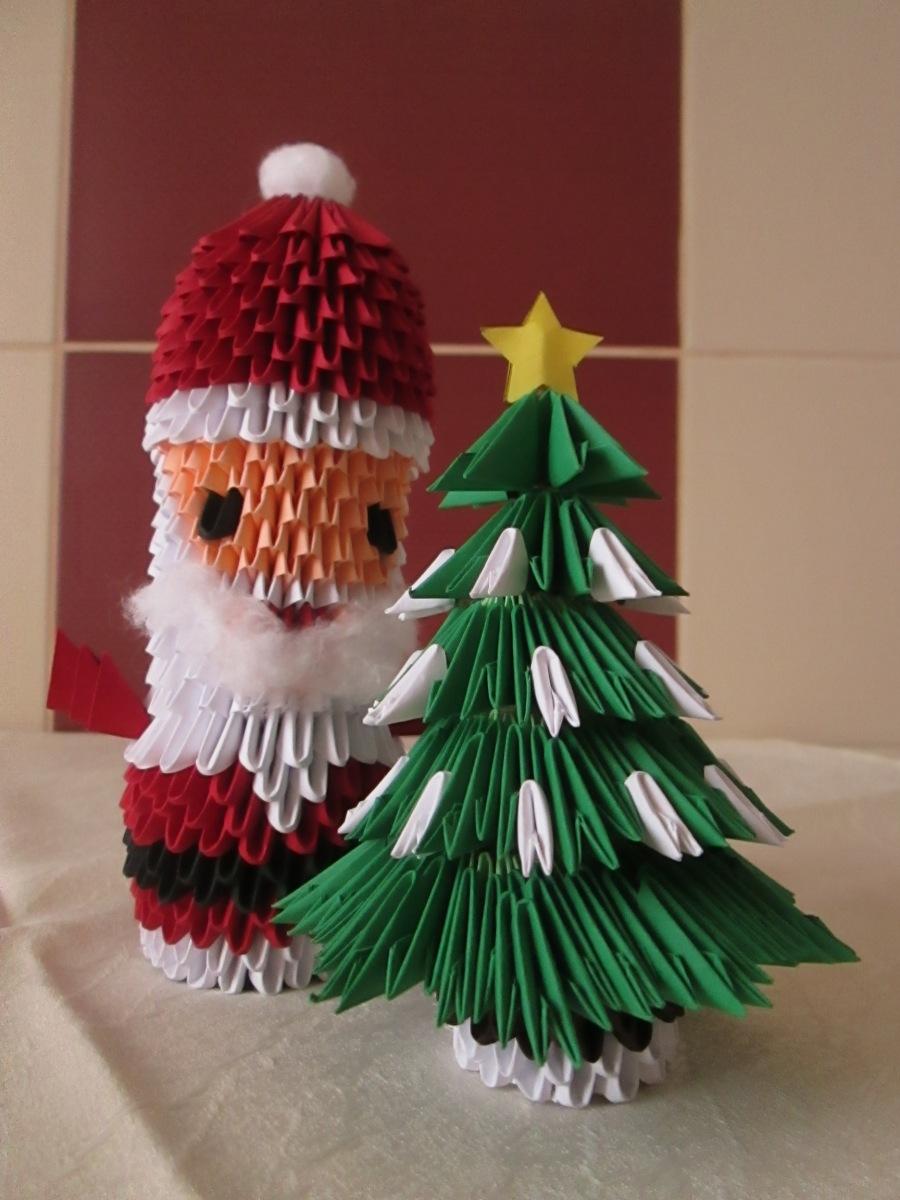 Moş Crăciun origami 3D